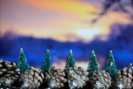 Close up decoration christmas tree isolated on bokeh background Stockfoto
