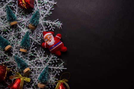Decorative Christmas and santa claus isolated on black background Stockfoto
