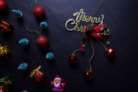 Santa Claus, merry christmas text and Decorative Christmas isolated on black background