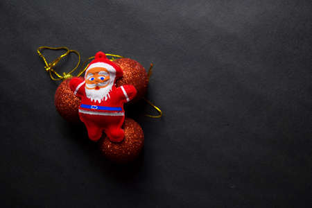 Decorative Christmas and santa claus isolated on black background Stockfoto - 134262326