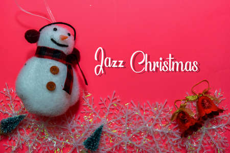 Jazz Christmas text isolated on Pink backgroud. Frame of Christmas Decoration.