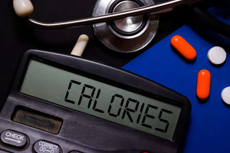 Calories write on calculator isolated on office desk background. HealthcareMedical concept