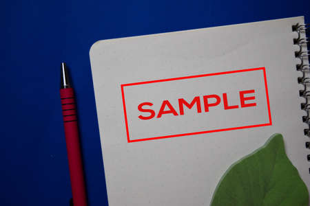 Sample write on a book isolated on blue background. Stockfoto