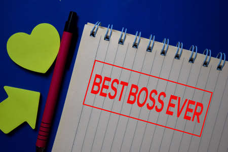 Best Boss Ever write on a book isolated on blue background. Stockfoto