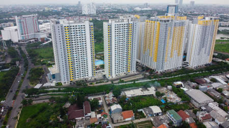 Aerial landscape of modern apartment building in Bekasi central business district from a drone. Reklamní fotografie