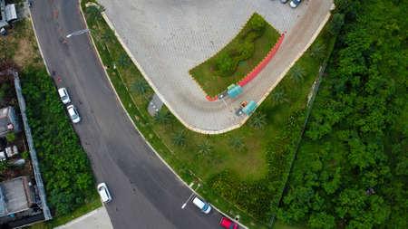 Overhead aerial view of the circular shaped Bekasi highway, located in Summarecon Bekasi. Indonesia