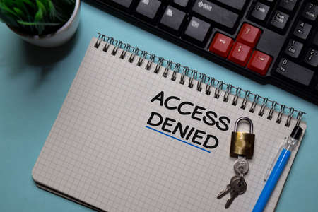 Access Denied write on a book isolated on office desk. Stockfoto