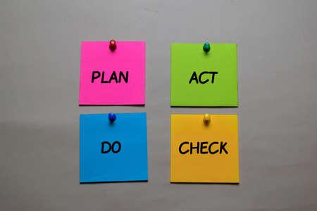 Plan, Act, Do, Check write on a sticky note isolated on office desk. Reklamní fotografie