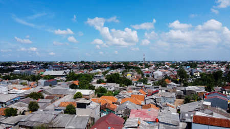 Bekasi, Indonesia, 1292020 : Aerial shot view with a drone at house