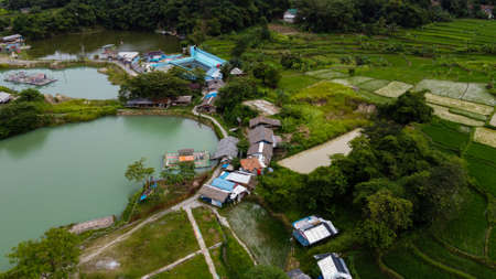 Aerial view beautiful green lake and surrounded by green grass