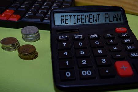 Retirement Plan write on the calculator on Office Desk. Stok Fotoğraf