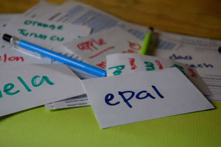 Epal write on a sticky note its mean apple isolated on Office Desk. Learning Malay Language concept Stok Fotoğraf