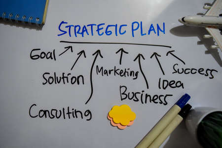 Strategic Plan text with keywords isolated on white board background. Chart or mechanism concept.