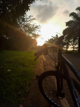 Silhouette of a bike in autumn on a sunny afternoon