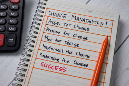 Change Management write on a book with keywords isolated wooden table. Banco de Imagens