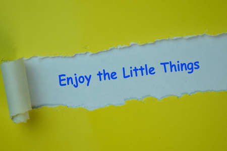 Enjoy the Little Things Text written in torn paper