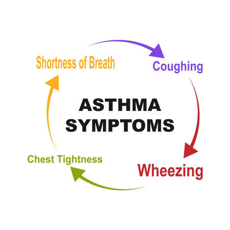 Diagram of Asthma Symptoms with keywords. EPS 10 - isolated on white background Stock Illustratie