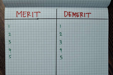 Merit and Demerit write on a book isolated on Wooden Table. Suported by additional service.