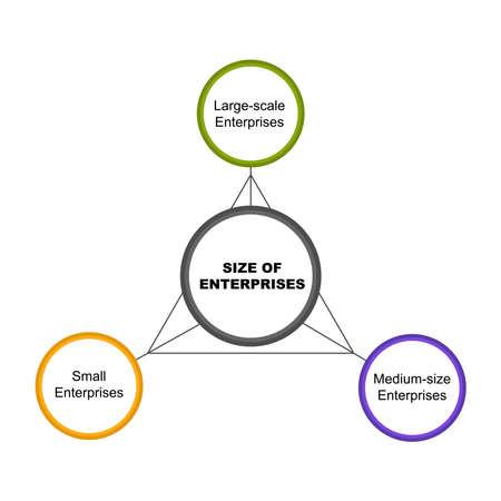 Diagram of Size of Enterprises with keywords. EPS 10 - isolated on white background Çizim
