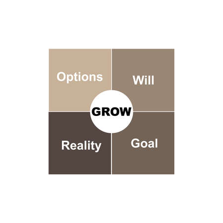 Diagram of GROW - Goal, Reality, Will, Options with keywords. EPS 10 - isolated on white background