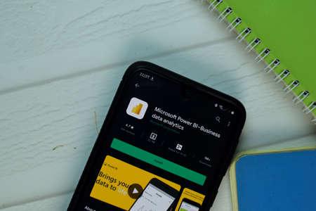 Microsoft Power BI dev app on Smartphone screen. Power BI is a freeware web browser developed by Microsoft Corporation. BEKASI, WEST JAVA, INDONESIA. NOVEMBER 21, 2020