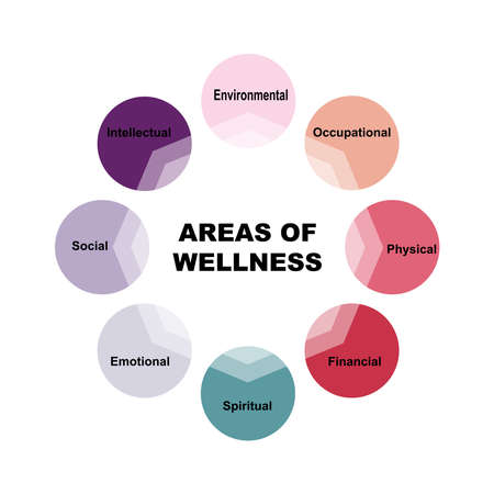 Diagram of Areas of Wellness with keywords. EPS 10 - isolated on white background