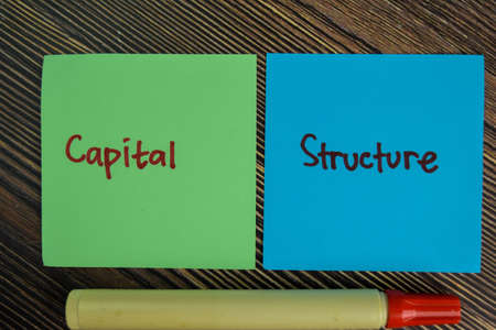 Capital Structure write on sticky notes isolated on Wooden Table. 免版税图像