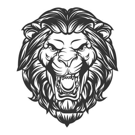 Lion head roaring vector illustration