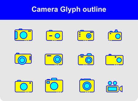 Camera icon set with color and outline style. Underwater camera icon. Digital camera.