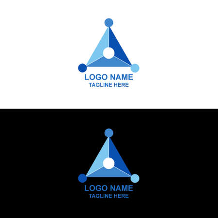 triangle logo design template. triangle from three shape elements. editable vector. blue, red, green. Triangle logo with hole in center of logo and circle.