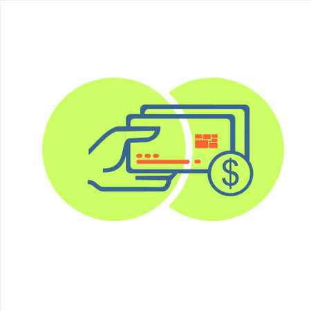 credit card payment vector icon with green circle background. currency symbol. isolated. editable vector.