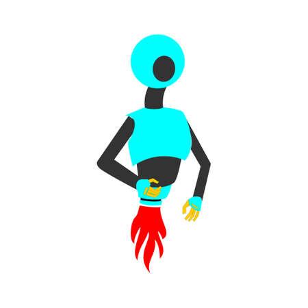 robot character . Minimalist flat style. editable vector for illustration, children book.