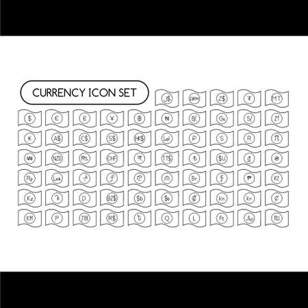 Currency symbol icon with money. Worldwide currency symbol. Main Currency. USD, EUR, JPY, GBP, AUD, CAD, CHF, CNY. money, banks, coins, payments, savings, currency exchange.