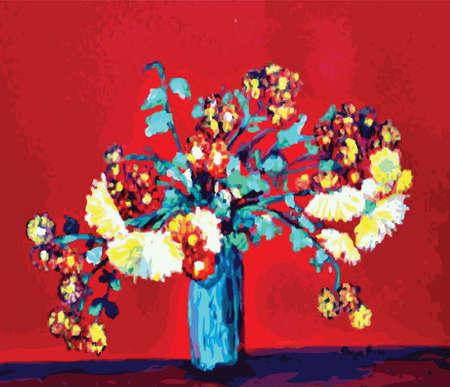 natura morta con fiori: Coloredl Chrysanthemums flowers