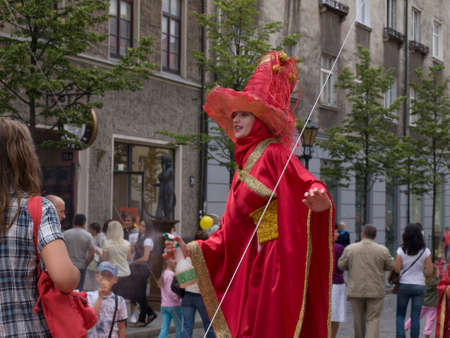 performers: KLAIPEDA, LITHUANIA - JULY 30,2011- Street performers at the sea holiday in Klaipeda, Lithuania.