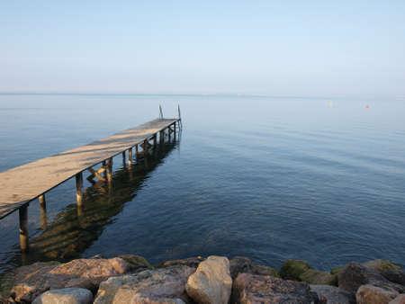 quite: Berth at Lake Garda in Italy Stock Photo