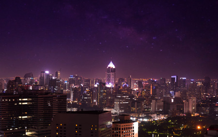 johannesburg: city view on night sky and milky way , cityscape on twilight filter Stock Photo