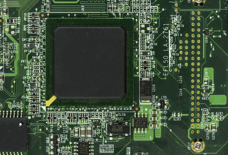 mainboard: face of mainboard and cpu chipset on macro - can use to display or montage on products