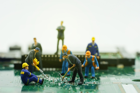 mainboard: mini workers take action on mainboard on boss and sunrise filter - can use to display or montage products