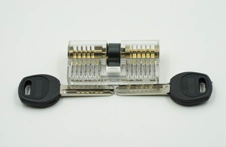 PUMPER: transparent ket maker set for locksmith use to open the door on isolate white background - can use to display or montage on products
