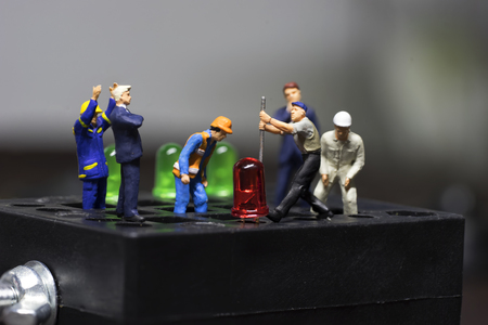 black block: mini worker try to remove led light from black block with his boss and team - can use to display or montage on products