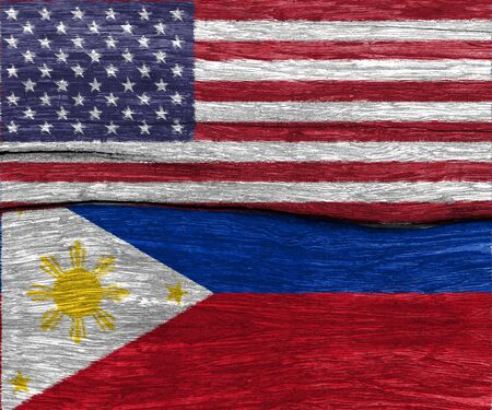 disagree: USA flag and philippines flag on wood texture background floor - can use to display or montage on product