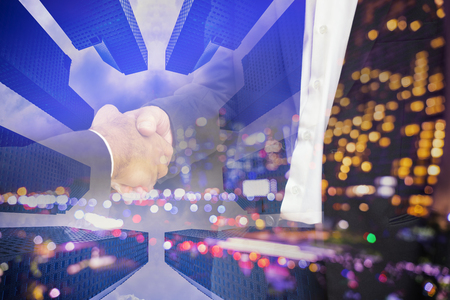 commit: scene of businessman shakehand for commit on double exposure - can use to display or montage on product