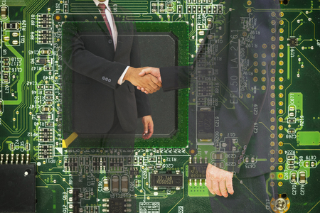 mainboard: abstract commitment of CEO on mainboard computer in double exposure style - can use to display or montage product