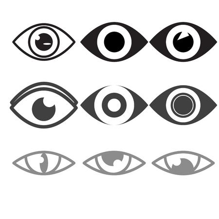 optometrist: vector eye icon set flat design