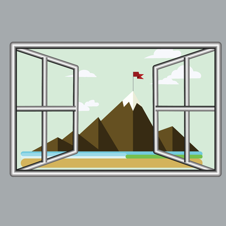 Abstract vector design window to see mountain view flat icon