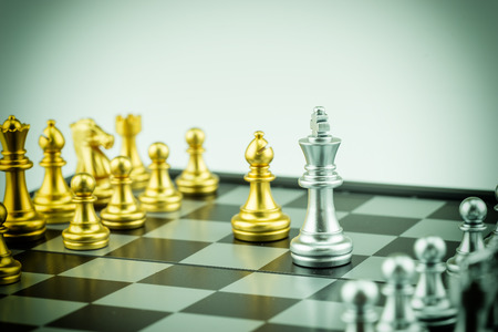 Abstract bishop and king on chess game concept - can use to display or montage on product Stock Photo