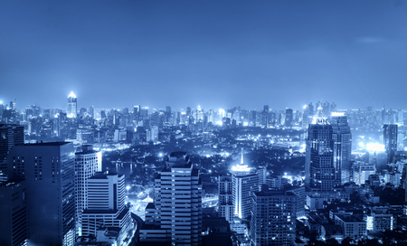 night cityscape in blue tone filter for hi-tech concept - can use to display or montage on product Фото со стока
