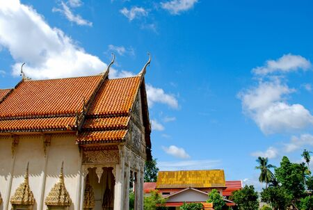The old temple with blue sky in thailand photo