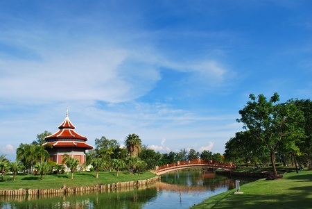 The china building in the park at thailand photo